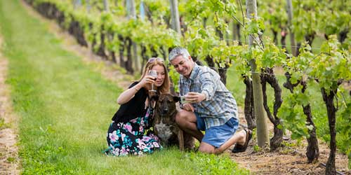 Posing with Dog Newport Vineyards Newport Rhode Island