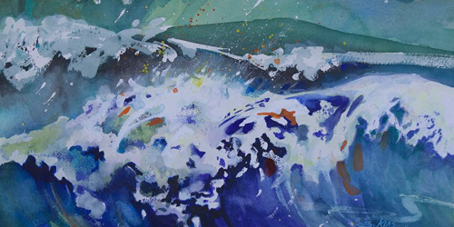 rogue wave painting at block island gallery