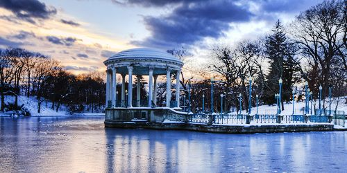 roger williams park in providence RI in winter