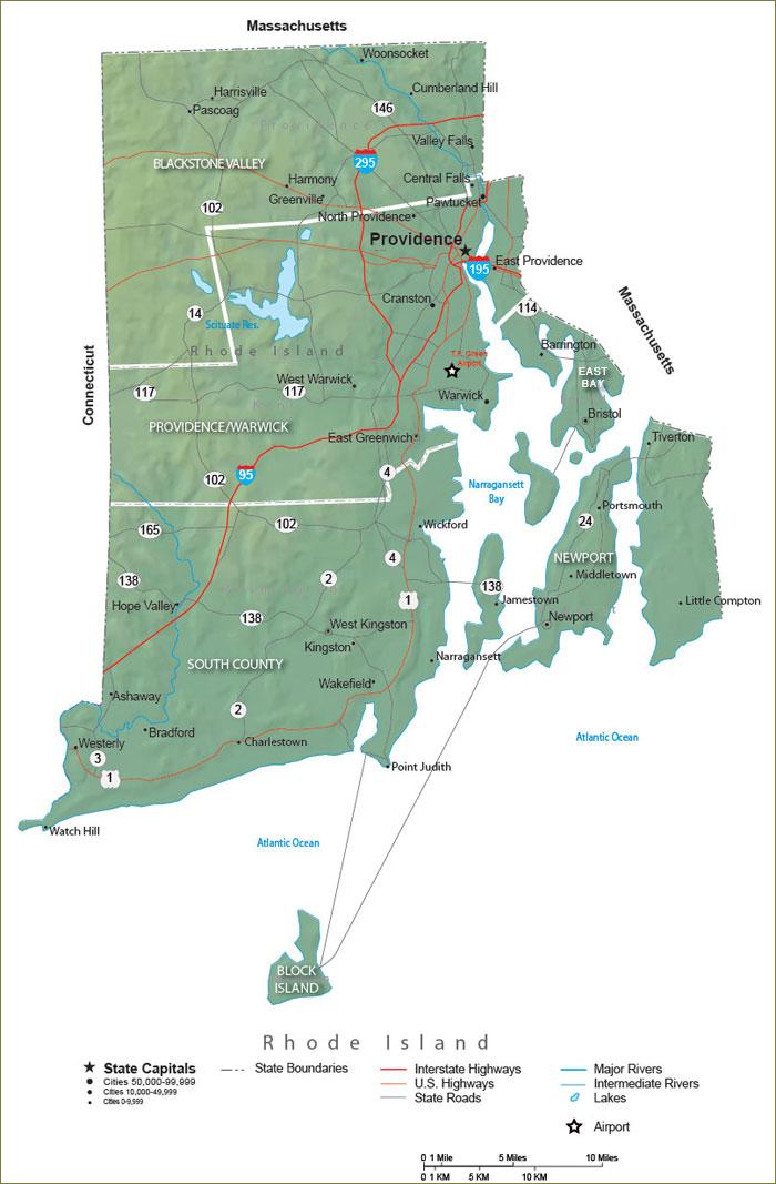 Rhode Island State Map - Travel Information