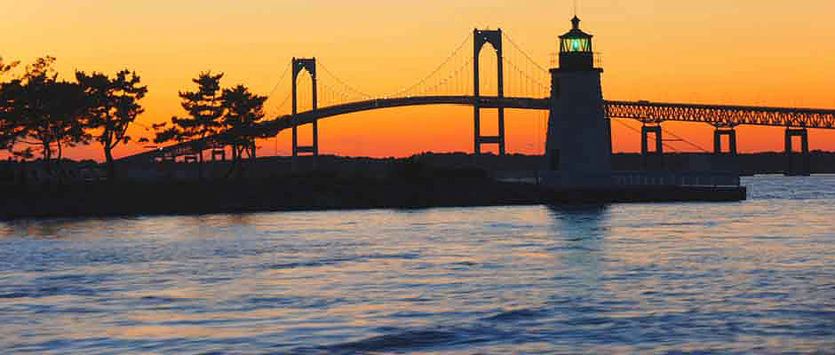 Newport Bridge and Rose Island Lighthouse, RI